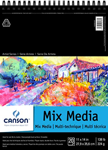 Canson Artist Series Mix Media Paper Pad for Wet or Dry Media, Dual Surface with Fine and Medium Textures, 138 Pound, 11 x 14 Inch, 20 Sheets
