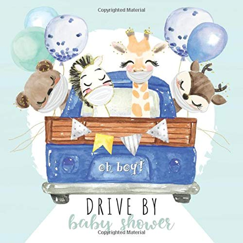 Drive By Baby Shower: Guest Sign-In with Advice for Parents + Gift Log + Scrapbooking Pages | It's a Boy Parade Guestbook | Blue Truck Animal Friends