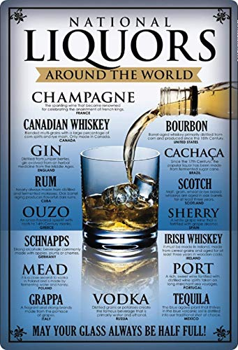 Generisch blikken bord 20x30cm Liquors Around The World Ouzo Rum Gin Wodka Whisky bord
