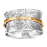 Boho-Magic 925 Sterling Silver Spinner Ring for Women with Brass Fidget Ring Flowers Band (8)
