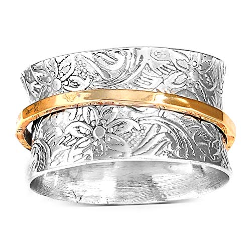 Boho-Magic 925 Sterling Silver Spinner Ring for Women with Brass Fidget Ring Flowers Band (9)