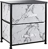 Sorbus Nightstand with 2 Drawers - Bedside Furniture & Night Stand End Table Dresser for Home, Bedroom Accessories, Office, College Dorm, Steel Frame, Wood Top (Marble White – Black Frame)