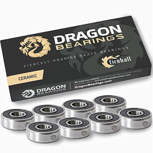Fireball Dragon Precision Skateboard Bearings | 608 Bearing for Skateboards, Longboards, Inline Skates, Roller Skates, Spinners (Ceramic 8)