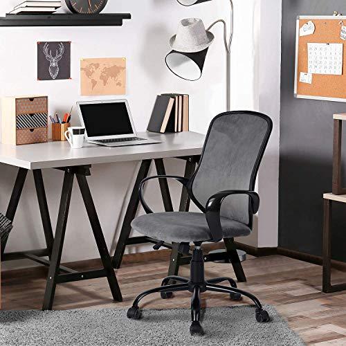 FurnitureR Silla ergonómica de escritorio de oficina Silla giratoria ajustable de terciopelo Silla de trabajo Asiento y reposabrazos acolchados de terciopelo Silla de trabajo para el hogar y la oficina Gris Oxford