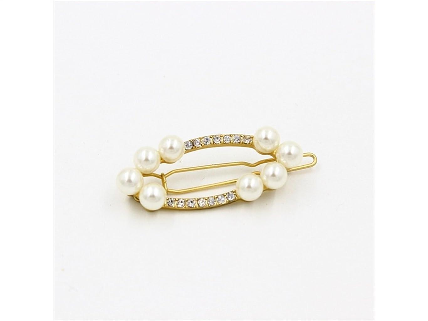 量巧みな司書Osize 美しいスタイル 真珠の宝石魅惑的なゴールドヘアクリップサイドクリップヘアピンヘアアクセサリー(示されているように)