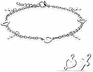 Cavigliera/bracciale con catena in acciaio inossidabile 316L con ciondoli a cuore e croce