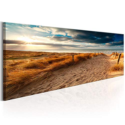 decomonkey | Bilder XL Meer Strand | Wandbild Leinwand 150x50 cm Selbstmontage DIY Einteiliger XXL Kunstdruck zum aufhängen | Landschaft Natur Sonnenuntergang Sand