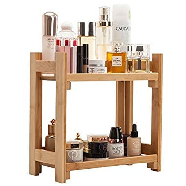 Gobam Cosmetic Organizer and Storage Shelf Multi-Function Large Makeup Organizer Holder,Ideal for Countertop, Assemble Easily, Gift for Mom & Women Natural Bamboo