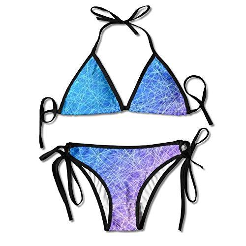Maillots de Bain, Ensemble de Bikini Licou 2 pièces chaîne géométrique polygone Bleu, Beaux Maillots de Bain Transparents faciles pour Parc Aquatique