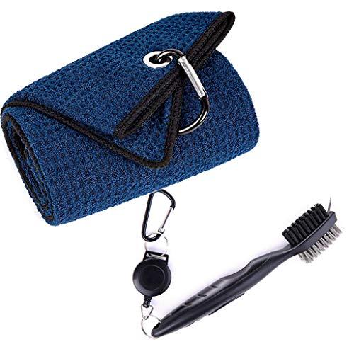 Karrychen Kit Limpiador de Cepillo y Toalla para Palos de Golf con Clip de Bucle para Colgar en una Bolsa de Golf, Azul...