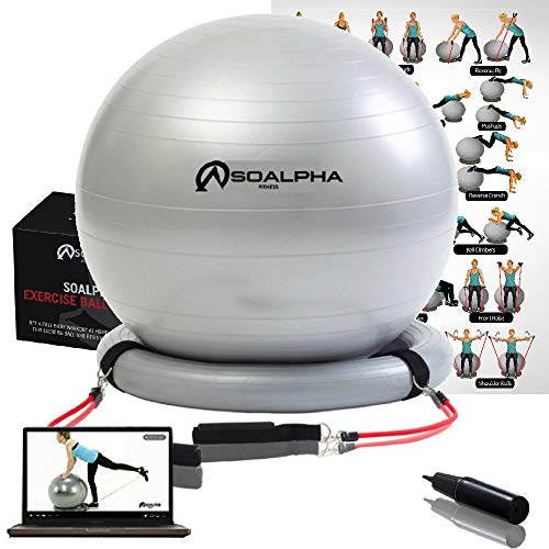 Soalpha Exercise Ball with 15LB Resistance Bands & Stability Base – Workout From Home with the Home Gym Bundle – Great For All Fitness Levels - 65CM Anti-Burst Yoga Ball - Watch Exercise Videos Online