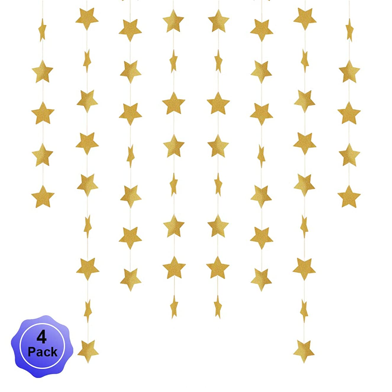 Star Banner Garland Decorations Stars Paper Birthday Party Banner Twinkle Hanging Bunting Banner Gold Glitter Sparkling Star Garland for Wedding Christmas Halloween Photo Booth Props Golden 4 Pack