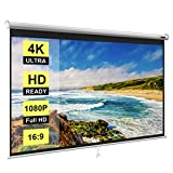 VIVOHOME 80 Inch Manual Pull Down Projector Screen, 16:9 HD Retractable Widescreen Matte for Movie Home Theater Cinema Office Video Game
