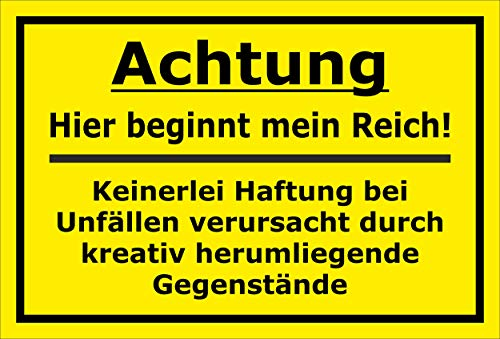MelisFun Achtung - Hier beginnt Mein Reich - lustiges Schild Geschenk-Idee Scherz-Artikel