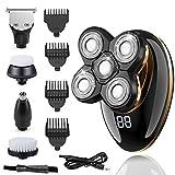 5 en 1 Rasoir électrique pour homme,Rasoir rotatif,4D flottant 5 têtes de rasage,IPX7 étanche,Affichage LED,Avec tête de rasage, tondeuse à cheveux, brosse de nettoyage, Tondeuse à nez