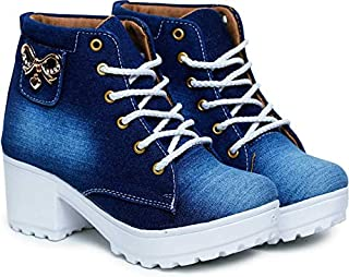 KRAFTER High Ankle Denim Boots for Womens and Girls