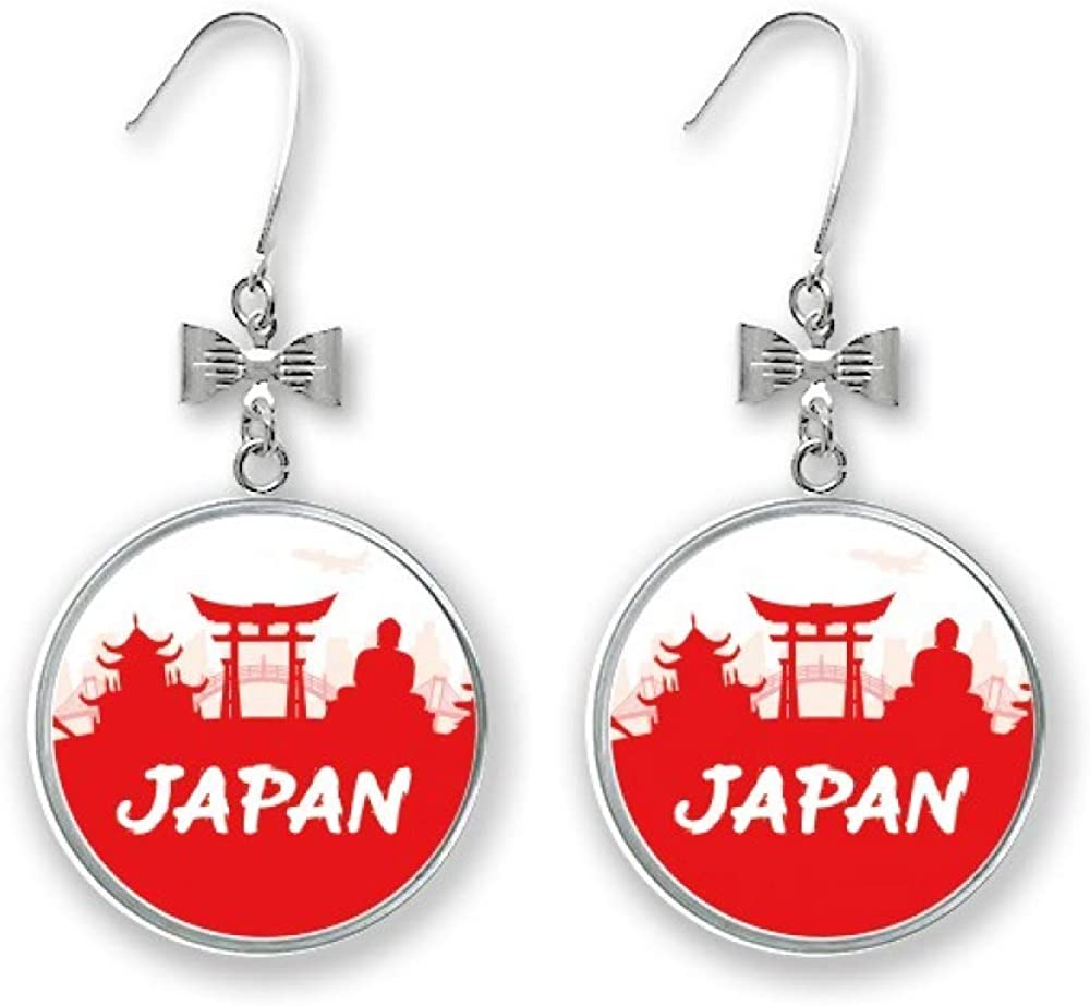 Red Silhouette Landmark Japan Bow Pierced Stud Drop Direct store Earrings Hoo We OFFer at cheap prices