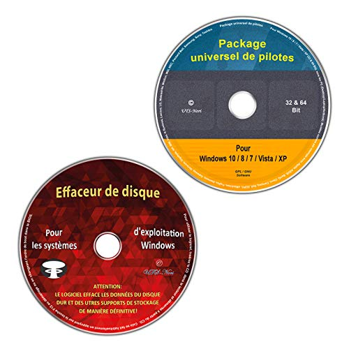 Collection de pilotes universels pour Windows 10 / 8 / 7 / Vista / XP (32 & 64 Bit) + effacement et formatage du disque dur, destruction des données (Ensemble économique de 2 CD/DVD)