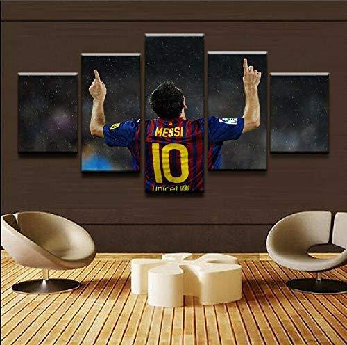 13Tdfc Cuadros Impresos En Lienzo Que Brillan En La Oscuridad 150X80Cm - 5 Piezas -Lionel Messi Fútbol Fútbol- Premium Lienzo De Tejido No Tejido XXL