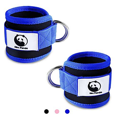 Slim Panda 1 paio di cinghie per il piede, cinghie regolabili per caviglia, con doppi anelli a D e supporto in neoprene, per allenamento con peso del piede e caviglie dei piedi (blu)