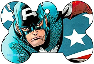 O2 Captain America Cap Shield Logo Dog Pet Cat ID Tag Bone Shape Personalized Key Ring
