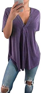 MK988 Womens Plus Size Short-Sleeve V-Neck Baggy Top T-Shirt Blouse