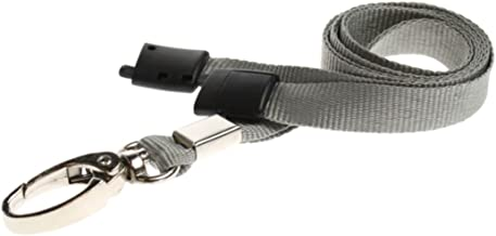 ID Card It ID Badge Holder Grey Neck Strap Safety Breakaway Lanyard with Solid Metal Lobster Clip - 100