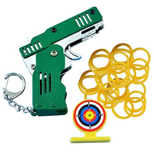 ZS ZHISHANG Rubber Band Gun Toy Easy Load Foldable Handmade Toy Metal Mini Folding Outdoor Sport Toy Keychain with Keychain And Elastic Rubber Bands