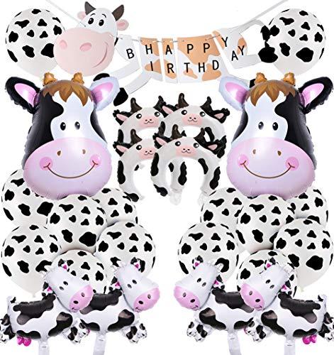 Vaca decoraciones para fiestas, tema de animales de granja, artículos para fiestas, pancartas de feliz cumpleaños, globos de papel de vaca, conjunto de decoración con globos Mylar