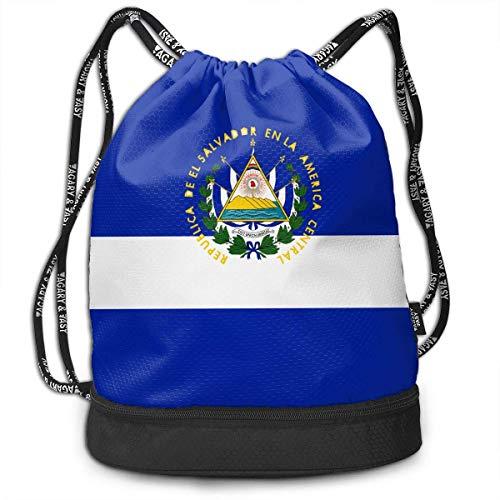 PmseK Mochila con Cordón,Bolsas de Gimnasia, Drawstring Bag Originality El Salvador Flag Shoulder Bags Travel Sport Gym Bag Print - Yoga Runner Daypack Shoe Bags with Zipper and Pockets
