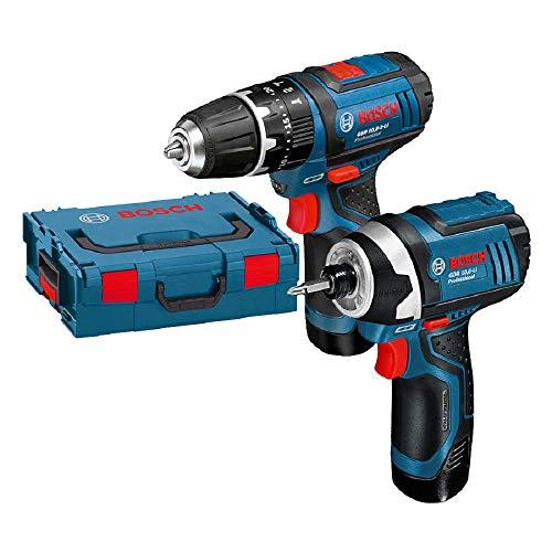 Bosch GSB 10,8-2-Li Schlagbohrschrauber + GDR 10,8 Li Drehschlagschrauber Akku-Twin-Set 2x 2,0Ah