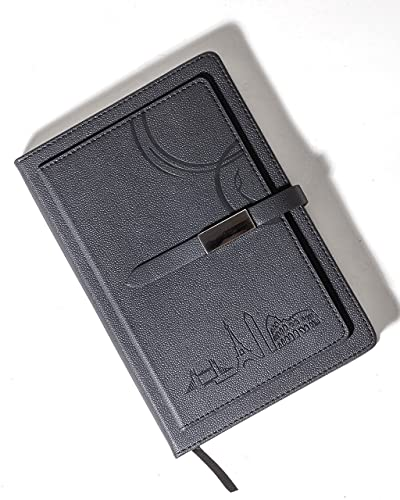 Bucket List Moments Travel Themed Hardcover Black Leather Journal - A5 size, 100 Thick Ruled Sheets with Ribbon Bookmark - Bonus Wallet
