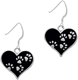 Heart with Paw Prints - French Earrings
