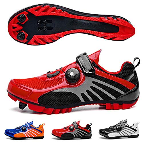 Arsui Zapatillas de Ciclismo con Tacos, Suela de Fibra de Carbono Ultraligera MTB para Hombre, Zapatillas de Bicicleta de Carretera con Bloqueo