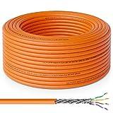 deleyCON 50m Cat.7 Cable de Instalación Cobre Rígido S/FTP PIMF Cable de Red Cable de Instalación Cable LAN Cable de Ethernet Cable de Datos Gigabit CAT7 10Gbit 1000MHz LSZH Libre de Halógenos DOP