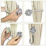 MObast Gardinenband, magnetisch, Blumen-Design, Kristall, Clip, silberfarben, 2 Stück
