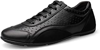 XUJW-Shoes, Fashion Sneakers for Men Perforated Walking Shoe Slip On Lace Up Round Toe Durable Comfortable Walking Leather Anti-Slip Breathable Lightweight (Color : Black, Size : 9.5 UK)