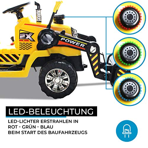 RC Auto kaufen Kinderauto Bild 3: Kinder Elektrobagger mit 2 x 25 Watt Motoren Elektro Bagger Kinderauto Kinderfahrzeug Spielzeug für Kinder Kinderspielzeug (Gelb)*