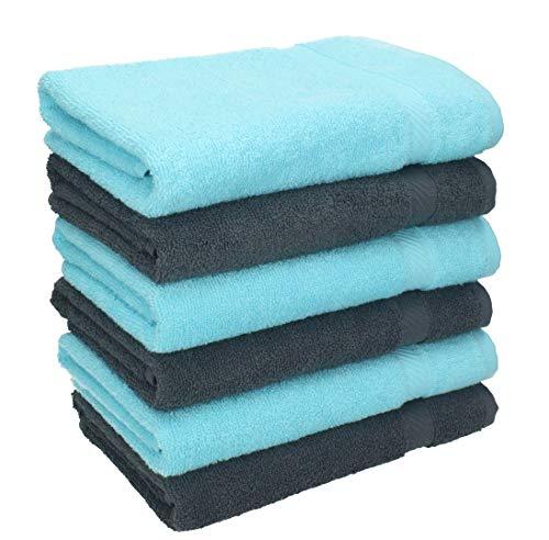 Betz 6 Stück Handtücher Palermo 100% Baumwolle Größe 50 x 100 cm Handtuch Set Farbe anthrazit und türkis