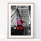 WIOIW Nrdico Vintage Blanco y Negro Londres City Landmark Tower Bridge Rojo Autobs de Dos Pisos Calle Paisaje Lienzo Pintura Arte de la Pared Pster Sala de Estar Dormitorio Decoracin para el h