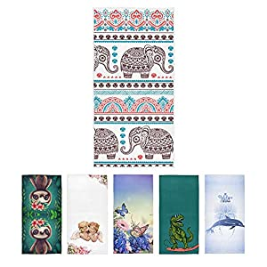 S Husky India Elephant Hand Bath Towel Folk-Custom Pattern Quick-Dry Highly Absorbent Soft Face Towel for Bathroom Kitchen Gym Yoga 30 x 15 inches 2040119