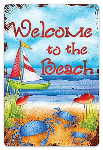 DECISAIYA Vendimia Cartel de Chapa metálica Bienvenido a The Beach Summer Placa Póster,Decoraciones de de Pared de Hierro Retro para Café Bar Pub Casa 20x30cm