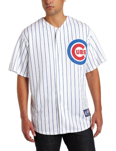 MLB Chicago Cubs Kosuke Fukudome White/Royal Pinstripe Home Short Sleeve 6 Button Synthetic Replica Baseball Jersey Spring 2012 Men, Herren, Weiß/Royal Pinstrp, Small