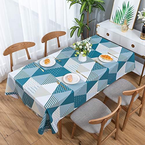 ENCOFT Mantel para Mesa Rectangular de PVC Impermeable Resistente al Aceite Manteles de Plástico Antimanchas Hules para Mesas Comedor Cocina Patrón Triángulo Geometría Multicolor 137x180cm