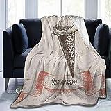 SHENGLIPINK Manta de Microfibra Ultra Suave,Icono de Helado Grunge nostálgico sobre Fondo de Lunares de Moda Antigua,Decoración para el hogar,cálida Manta para sofá Cama,80'X60'