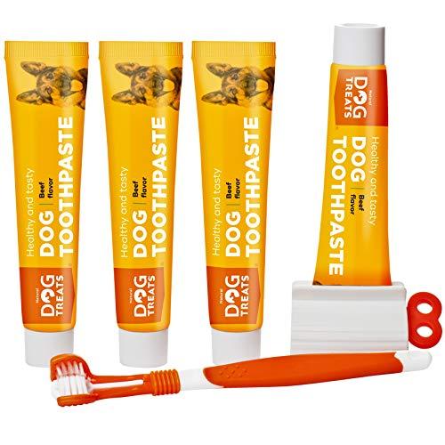 Natural Dog Treats Cepillo y 4X Dentífrico Set para Perros, Set Higiene...