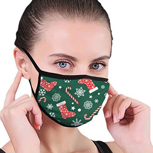 CAIQ Naadloze Vector Patroon Met Rode En Witte Kerst Stocking Sokken Stof Half Gezicht Masker Mond Maskers met Oordopjes Anti Stof Anti Haze Winddicht Masker