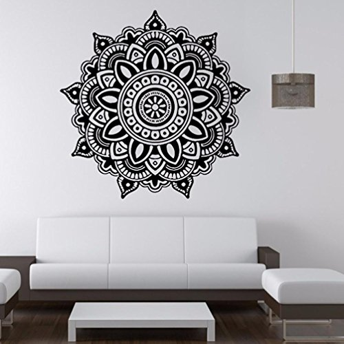 Angelof Stickers Muraux Mandala Fleur Indienne ImperméAble à La Chambre Mur Autocollant Art Stickers Mural Famille Vinyle Env. 57CM X 57CM