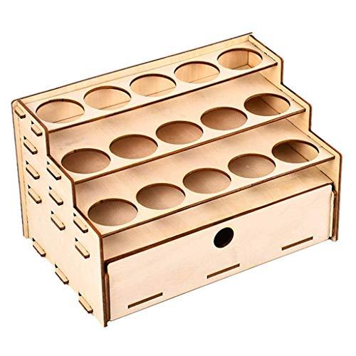 Tubayia Soporte de madera para pintura y modelismo, herramientas de colores, caja organizadora (15 cuadrículas con organizador de cajón)