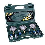 Richer-R 油圧式圧力計キット 携帯便利油圧計 油圧式圧力計 油圧式油圧試験キット 試験用ホースカップリングとゲージ付き 建設機械掘削機の油圧試験用